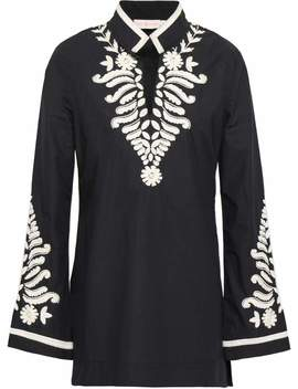 Bead Embellished Embroidered Cotton Poplin Tunic by Tory Burch