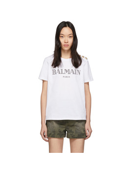 White 3 Button T Shirt by Balmain