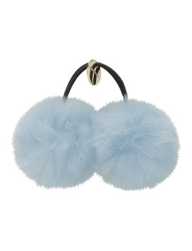Blue Rex Rabbit Fur Bobble by Yves Salomon
