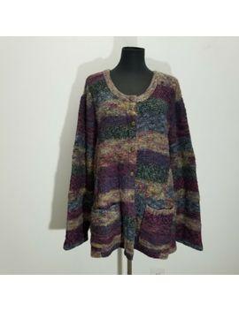 Koret Womens Cardigan Sweater 3 X Plum Fall Marled Knit Wool Blend Stripe Pockets by Koret