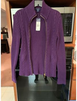Chaps Winter Plum Zipper Front Sweater Cardigan Petite Size Medium Nwt by Chaps