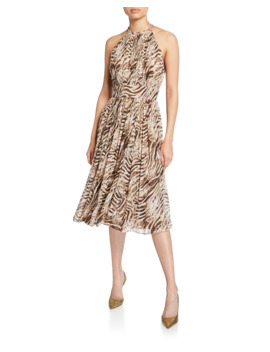 Dominica Tiger Stripe Halter Dress by Elie Tahari