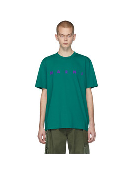 Green Front Logo T Shirt by Marni