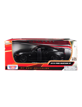 2018 Ford Mustang Gt 5.0 Matt Black With Black Wheels 1/24 Diecast Model Car By Motormax by Motormax