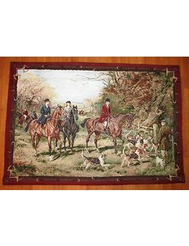 "Fox Hunt Tapestry Wall Hanging Weighted Lined Large 53"" X 37""...Horse Hound by Ebay Seller"