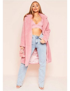 Remy Pink Faux Fur Midi Oversized Coat by Missy Empire