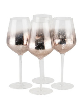 Pack Of 4 Sparkle Pink Wine Glasses by The Range