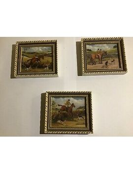 Vintage Hand Original Oil Painted Miniature Set Of English Hunting Scenes by Ebay Seller