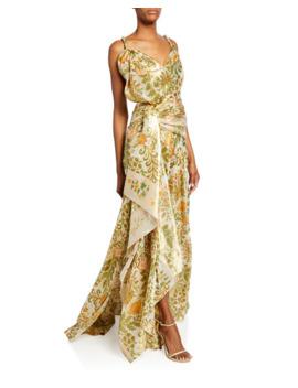 Floral Bouquet Metallic Drape Front Gown by Oscar De La Renta