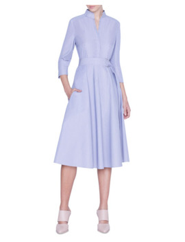 Striped 3/4 Sleeve Belted Shirtdress by Akris Punto