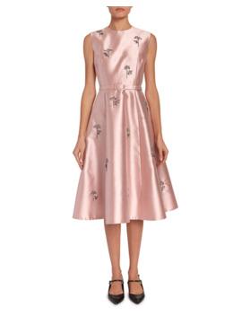 Farrah Beaded Mikado Belted Midi Dress by Erdem