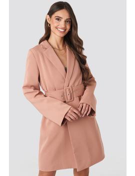 Wide Sleeve Belted Blazer Dress Lyserød by Na Kd Trend