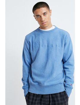 Champion Faded Logo Blue Crew Neck Sweatshirt by Champion