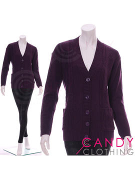 Boyfriend Pocket Cable Knitted Cardigan Grandad Top Plus Size 10   34 by Exclusive Candy Clothing