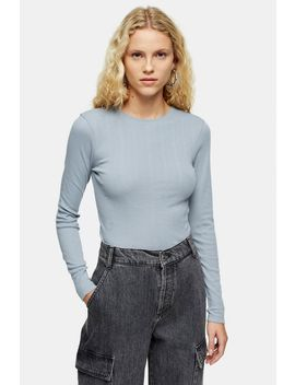 Blue Long Sleeve Pointelle T Shirt by Topshop