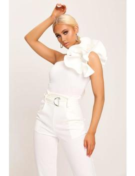 Cream Scuba Ruffle One Shoulder Bodysuit by I Saw It First