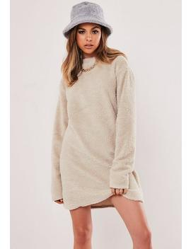 Stone Borg Teddy Crew Neck Sweater Dress by Missguided