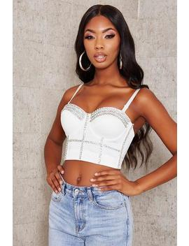 White Diamante Corset Bralet by I Saw It First