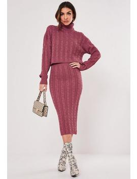 Raspberry Co Ord Cable Knit Midi Skirt by Missguided