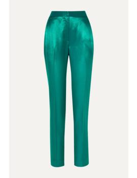 Satin Twill Straight Leg Pants by Carolina Herrera