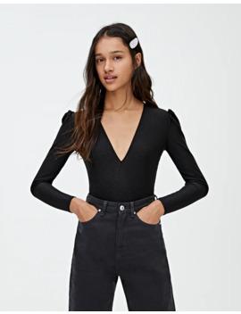 Black V Neck Bodysuit by Pull & Bear