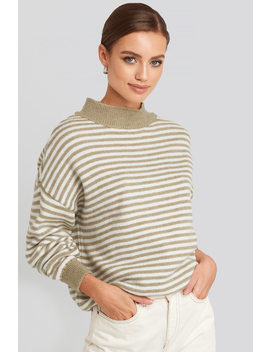 Striped Balloon Sleeve Knitted Sweater Beige by Na Kd