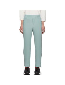 Blue Pleats Tailored Straight Leg Trousers by Homme PlissÉ Issey Miyake
