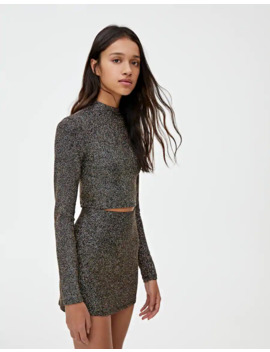 Shimmery Black Crop Top by Pull & Bear