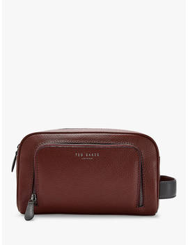 Ted Baker Miel Leather Wash Bag, Brown by Ted Baker