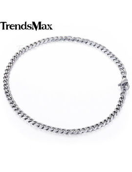 "3/5/7/9/11 Mm Curb Link Silver Tone Stainless Steel Bracelet Mens Chain 7/8/9/11"" by Trends Max"