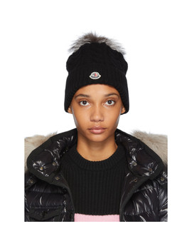Black Cable Knit Fur Pom Pom Beanie by Moncler