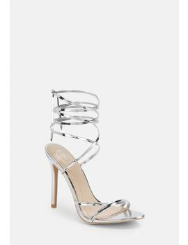 Silver Lace Up Barely There Heels by Missguided
