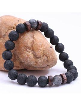 Men Women Natural Stone 8mm Lava Rock Bracelet Elastic Yoga Beads Bracelet by Unbranded