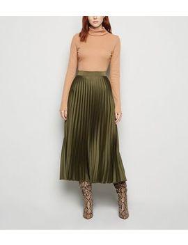 Tall Khaki Satin Pleated Midi Skirt by New Look