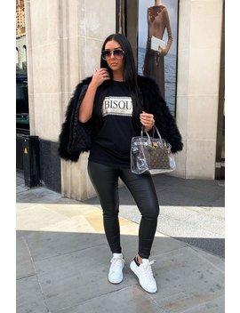 Black Gold Glitter Slogan T Shirt   Amma by Rebellious Fashion