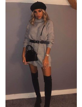 Grey Roll Neck Mini Knit Dress   Dariyana by Rebellious Fashion