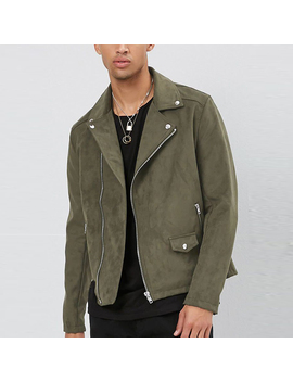 Faux Suede Jacket Notched Collar Asymmetric Zip Fastening Zip Cuff Winter Jackette For Men by Hl