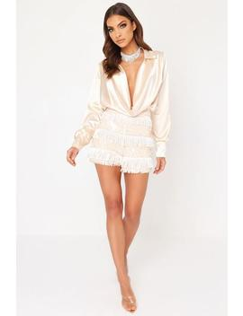 Nude Fringe Sequin Shorts by I Saw It First