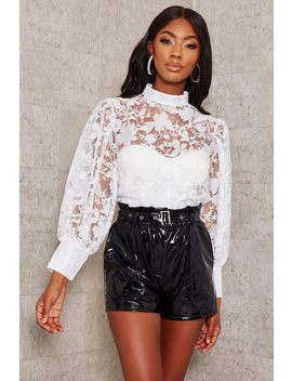Black Faux Leather Belted Paperbag Shorts by I Saw It First
