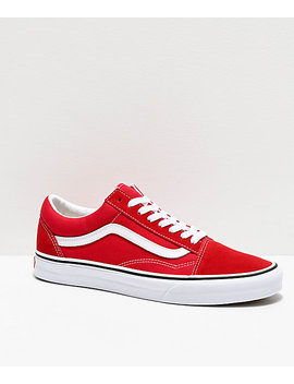 Vans Old Skool Racing Red &Amp; White Skate Shoes by Vans
