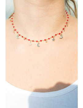 Gold Red Bead Moon Star Necklace by Brandy Melville