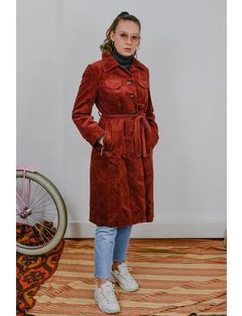 Corduroy Mantel Vintage 80er Jahre Rot Graben Herbst Frühling Gefüttert Braun Gebunden Taille Kragen Hipster Knopf Bis Frauen M/L by Etsy