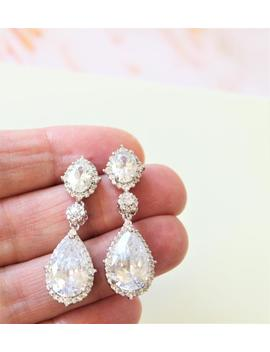 Vintage Style Bridal Earrings, Art Deco Crystal Earrings, Wedding Earrings, Crystal Teardrop Earrings, Silver Bridal Jewelry, Uk by Etsy