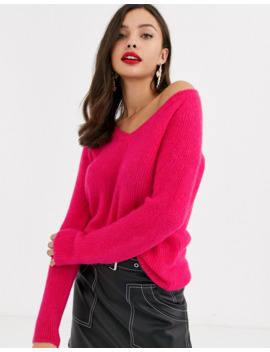 Morgan Knitted Jumper In Hot Pink by Morgan