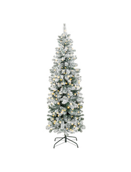 6 Ft Pre Lit Artificial Snow Flocked Pencil Christmas Tree Holiday Decoration W/ 250 Clear Lights by Best Choice Products