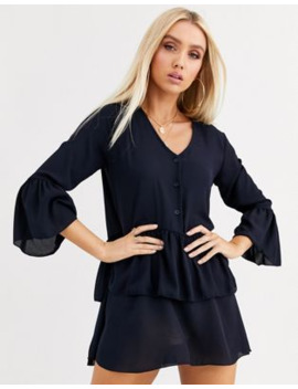 Boohoo Button Through Smock Dress With Frill Hem In Blue by Boohoo