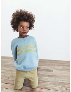 Textured Text Sweatshirt by Zara