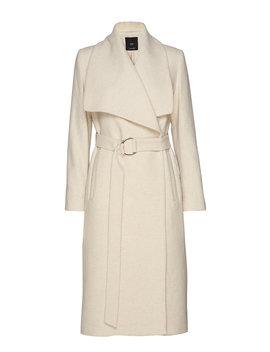 Wide Lapel Wool Blend Coat by Mango