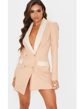 Cream Gold Button Contrast Blazer Dress by Prettylittlething