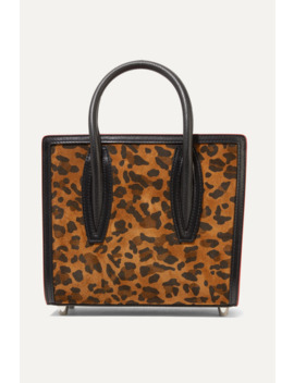 Paloma Mini Leopard Print Suede, Leather And Canvas And Tote by Christian Louboutin